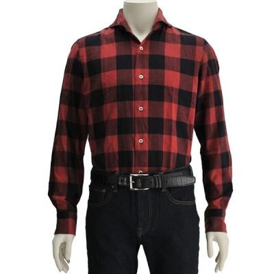ジャンネット GIANNETTO メンズ 長袖カジュアルシャツ レッド&ブラック ブロックチェック コットンフランネル 国内正規 Men's