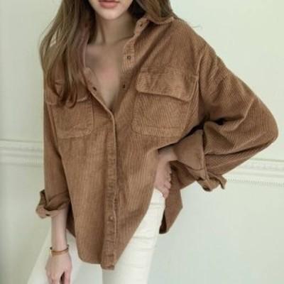 おしゃれカジュアルなコーデュロイシャツ 2色 ブラウス 胸元ポケットオーバーサイズ ゆったり ミディアム デイリー お出かけ 秋冬