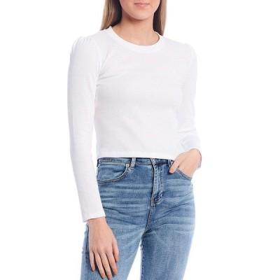 チェルシー&バイオレット レディース Tシャツ トップス Long Sleeve Crew Neck Ribbed Knit Cropped Top Ultra White