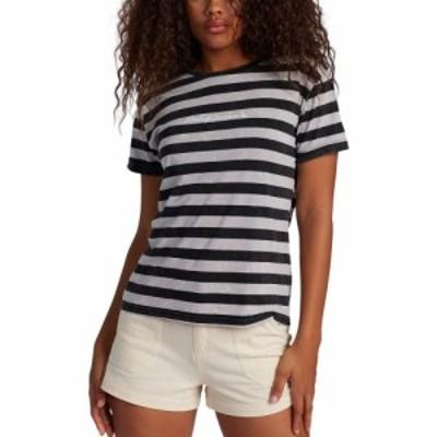 ロキシー ROXY レディース Tシャツ トップス Made Of Sunshine Stripe T-Shirt Anthracite