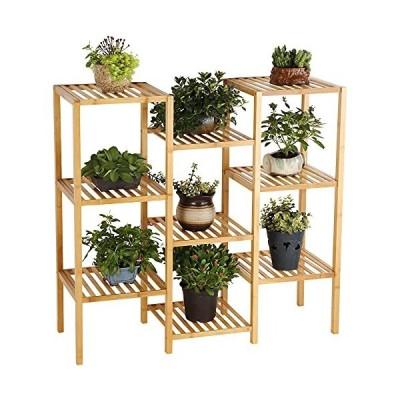 HYNAWIN 9段竹植物スタンド フラワーディスプレイ棚 多機能収納ラック ポットホルダー パティオ 庭 コー