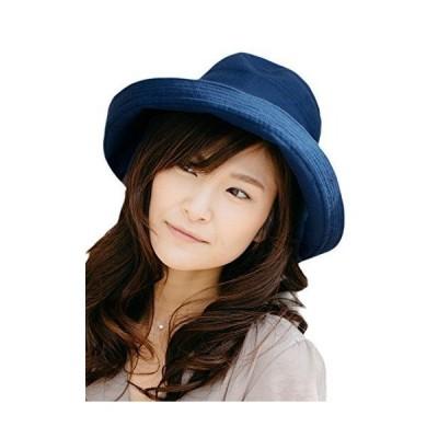 ネイビー (オリエントハット)Orient Hat 紫外線対策 リボン 小顔効果 大人 カプリーヌ ハット コットン 巻きつば つば広ハット