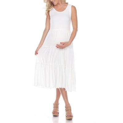 ホワイトマーク ワンピース トップス レディース Women's Maternity Scoop Neck Tiered Midi Dress White