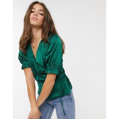 ニュールック New Look レディース ブラウス・シャツ トップス satin wrap blouse in dark green ダークグリーン