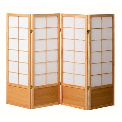 《目隠しやお部屋のアクセントとしてご使用いただけます》KOEKI 4連木製和風衝立1200mm高JPS1204NAナチュラル