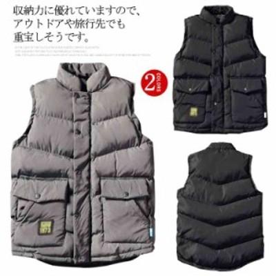 中綿ベスト メンズ アウター ダウンベスト フード付き ペアカップルベスト 秋冬服 軽量 あったか 防風 防寒 ジャケット