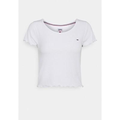 トミーヒルフィガー Tシャツ レディース トップス SKINNY CROP TEE - Print T-shirt - white