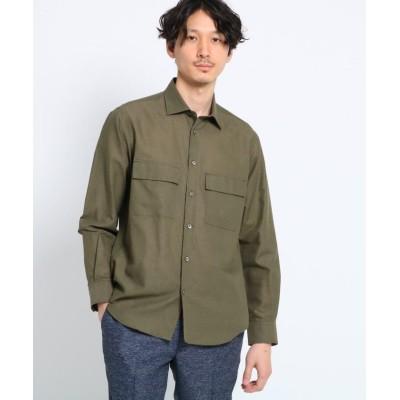 (TAKEO KIKUCHI/タケオキクチ)【Sサイズ~】Herdmans Linen ダブルポケットシャツ/メンズ モスグリーン(024)