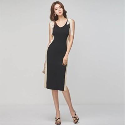 韓国 パーティードレス オルチャン ドレス 結婚式 お呼ばれ ドレス フォーマル ドレス パーティー ドレス 20代 30代 40代 バイカラー