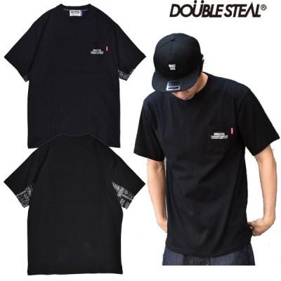 ダブルスティール DOUBLE STEAL Arms Fabric Tee レイヤード バンダナ柄 Tシャツ ビック ロゴ シンプル 大きいサイズ メンズ ストリート ブランド
