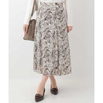 OFUON(オフオン)【洗える】スプラッシュパターンミディスカート【お取り寄せ商品】