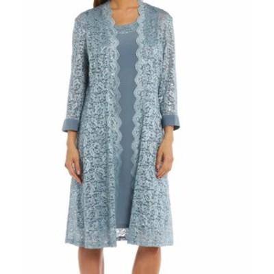 Sequin  ファッション ドレス R&M Richards Womens Dress Blue Size 6 Sheath 2PC Lace Sequin 3/4 Sleeve