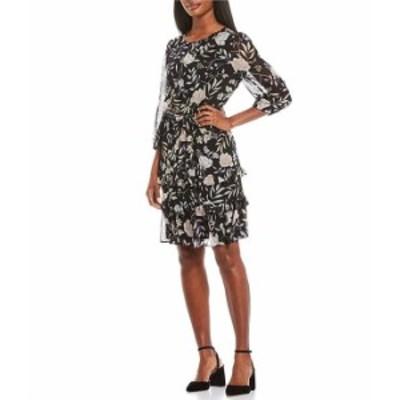 カルバンクライン レディース ワンピース トップス Floral Vine Print Chiffon Ruffle Trim Long Sleeve Dress Black Multi