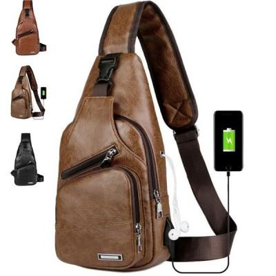 ボディバッグUSB充電搭載セカンドカバン革鞄斜めがけメンズアウターレザー ショルダー
