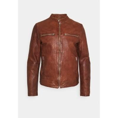 グースクラフト メンズ ジャケット&ブルゾン アウター KYLL BIKER - Leather jacket - dark cognac dark cognac