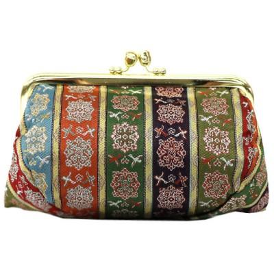龍村美術織物 がま口コスメポーチ 唐花雙鳥長斑錦(からはなそうちょうちょうはんきん) レディース