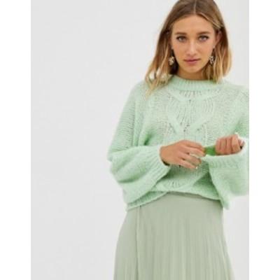 エイソス レディース ニット・セーター アウター ASOS DESIGN cable sweater in lofty yarn with volume sleeve Mint