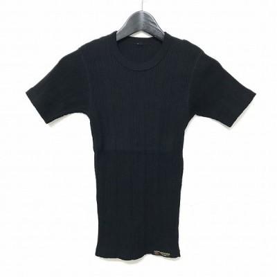 【中古】ザ フラットヘッド THE FLAT HEAD GOOGIES リブ編み 半袖 Tシャツ カットソー トップス クルーネック S 黒 ブラック レディース【ベクトル 古着】