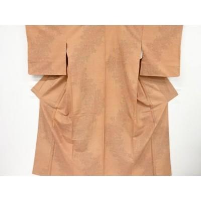 宗sou 草花模様織り出し手織り紬着物【リサイクル】【着】