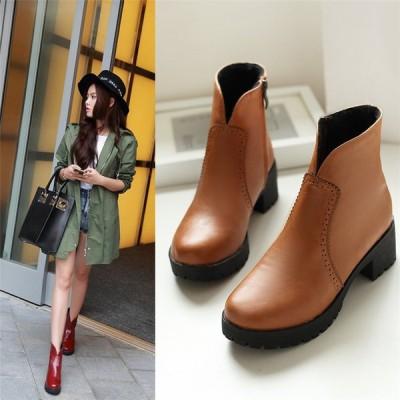 ショートブーツ レディース 靴 ブーツ シンプル 全3色 22cm~26cm 通勤 お呼ばれ ミドルヒール 太ヒール 美脚 秋冬 ファッション シューズ