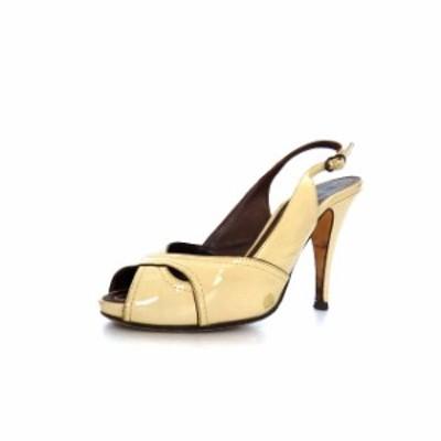 【中古】ペリーコ PELLICO エナメル バックストラップサンダル パンプス 靴 35 ライトベージュ 薄茶 春夏 レディース