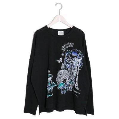 スカラー ScoLar スカラーキノコ柄ローズジャガードロングスリーブTシャツ (ブラック)