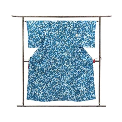 リサイクル着物 小紋 正絹ブルー地袷小紋着物