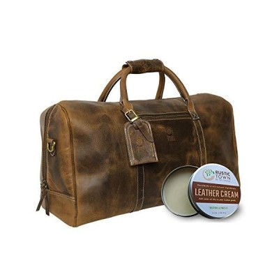 Leather Duffel Bag with Leather Cleaning & Healing Cream - Leather Restorer & Conditioner Care Kit for Duffle Bag - A Care Combo For Your Le