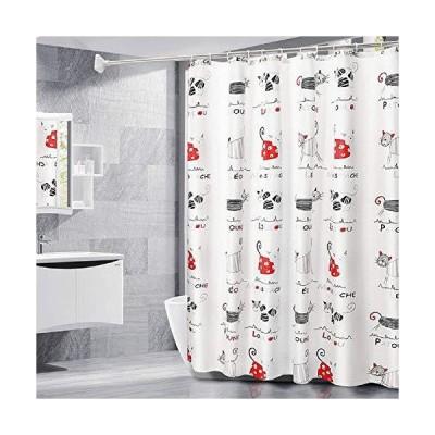 シャワーカーテン お風呂用カーテン 120*180cm丈 防水 防カビ バスカーテン かわいい猫 ユニットバス 浴室 間仕切り 保温 撥水速