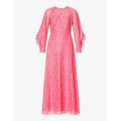 フーシャン ツァン HUISHAN ZHANG レディース パーティードレス ワンピース・ドレス Ludmilla floral lace and feather-trimmed silk-blend gown HOT PINK