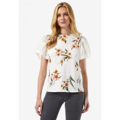 ドロシー パーキンス Dorothy Perkins レディース Tシャツ トップス White Printed Frill Sleeve T-Shirt White
