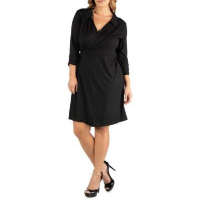 24セブンコンフォート レディース ワンピース トップス Plus Size Knee Length Collared Wrap Dress