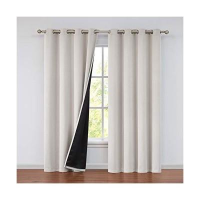 CloverForty 100%遮光裏地付きカーテンパネル 断熱遮光カーテン 寝室用 熱遮断ドレープ リビングルーム用 52x108インチ カーキ 2