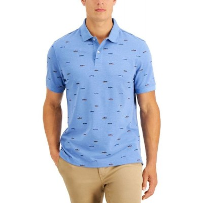 クラブルーム Club Room メンズ ポロシャツ トップス Fish Stretch Polo Shirt Blue Yonder