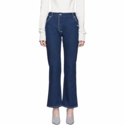 オフホワイト Off-White レディース ジーンズ・デニム ボトムス・パンツ blue cropped leg jeans Dark blue wash