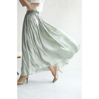 スカート 毎日洗える。シャイニー光沢スカートロング丈タイプ(ミントグリーン/ベージュ)