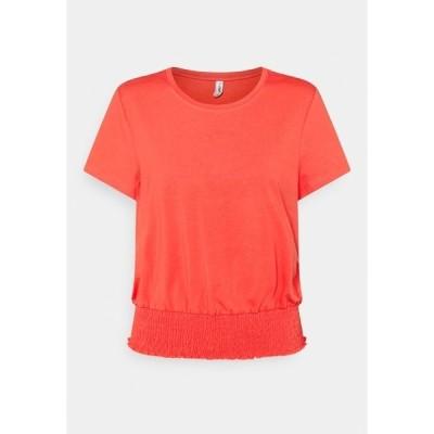オンリー Tシャツ レディース トップス ONLDREA LIFE SMOCK  - Print T-shirt - cayenne