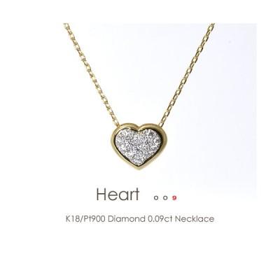K18/Pt900 ダイヤモンド 0.09ct パヴェ ネックレス [Heart 009] 18金 K18 18K PT ゴールド プラチナ バイカラー コンビ ダイヤ パベ ハート FLAGS フラッグス
