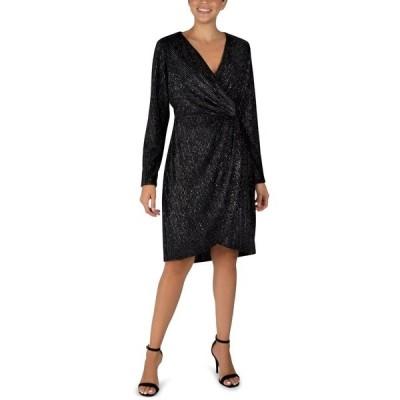 ジュリア ジョーダン ワンピース トップス レディース Velvet Foil Faux-Wrap Sheath Dress Black/Silver