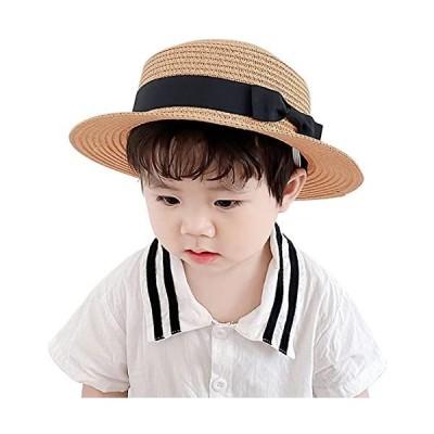 IFSUN-ストローハット-カンカン帽子-サンハット-リボン付き