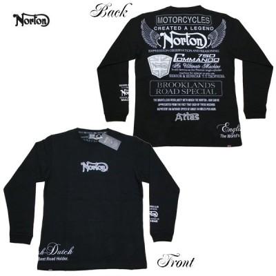 Norton 長袖Tシャツ ヘビーウェイト モノトーンインパクト厚手ロンT 211N1103 ノートン ブラック