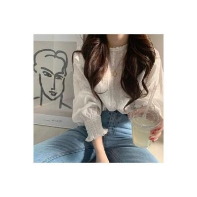 パフスリーブ ブラウス シャツ 韓国ファッション 春夏 花柄 レース 刺繍 ホワイト