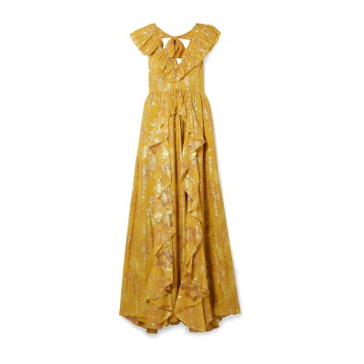 ULLA JOHNSON ロングワンピース&ドレス オークル 2 シルク 60% / ポリエステル 40% ロングワンピース&ドレス
