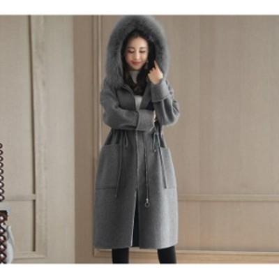 冬 新作 レディースコート レディース アウター ファー付きコート 帽子付きコート