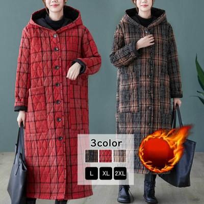 コート 中綿コート ロング丈 ロングコート チャック柄 フード アウター 羽織り ゆったり 秋冬