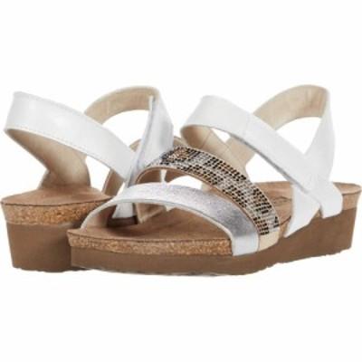 ナオト Naot レディース サンダル・ミュール シューズ・靴 Krista White Pearl Leather/Soft Silver Leather/Beige Cheetah Rivets
