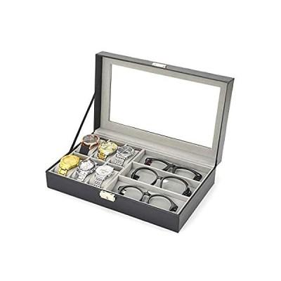 Tinaforld ブラック 6グリッド 腕時計 ボックス ケース ディスプレイ 収納 オーガナイザー メガネケース