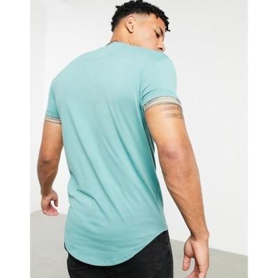 シックシルク メンズ Tシャツ トップス SikSilk scope gym T-shirt in light teal Light teal