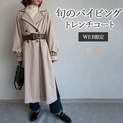 GeeRA 【WEB限定】合皮パイピングトレンチコート グレー M レディース
