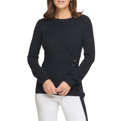 ダナ キャラン ニューヨーク レディース ニット&セーター アウター D-Ring Side Buckle Long Sleeve Sweater New Navy
